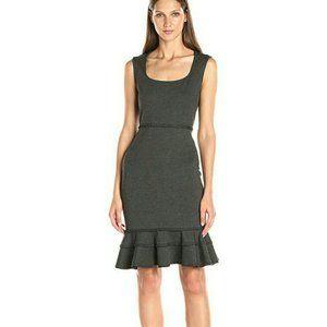 Nanette Lepore Ruffled Ponte Day Dress Gray EUC 8